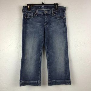 7FAM 7 For all Mankind Dojo Crop Jeans Distressed Size 30 Blue